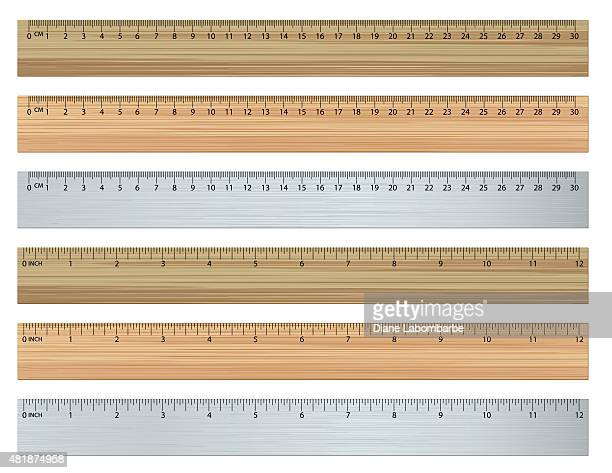 set of rulers in inches and centimetres - ruler stock illustrations