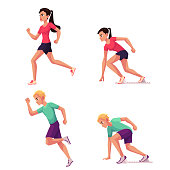 Set of runners, male and female, running and starting