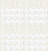 Set of russian 2014, 2015, 2016, 2017 calendars