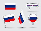 Set of Russian pin, icon and map pointer flags. Vector