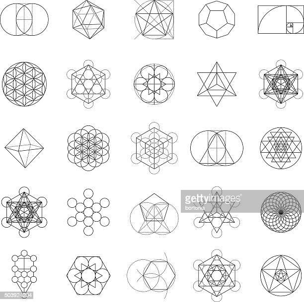 set of sacred geometry icons - spirituality stock illustrations, clip art, cartoons, & icons