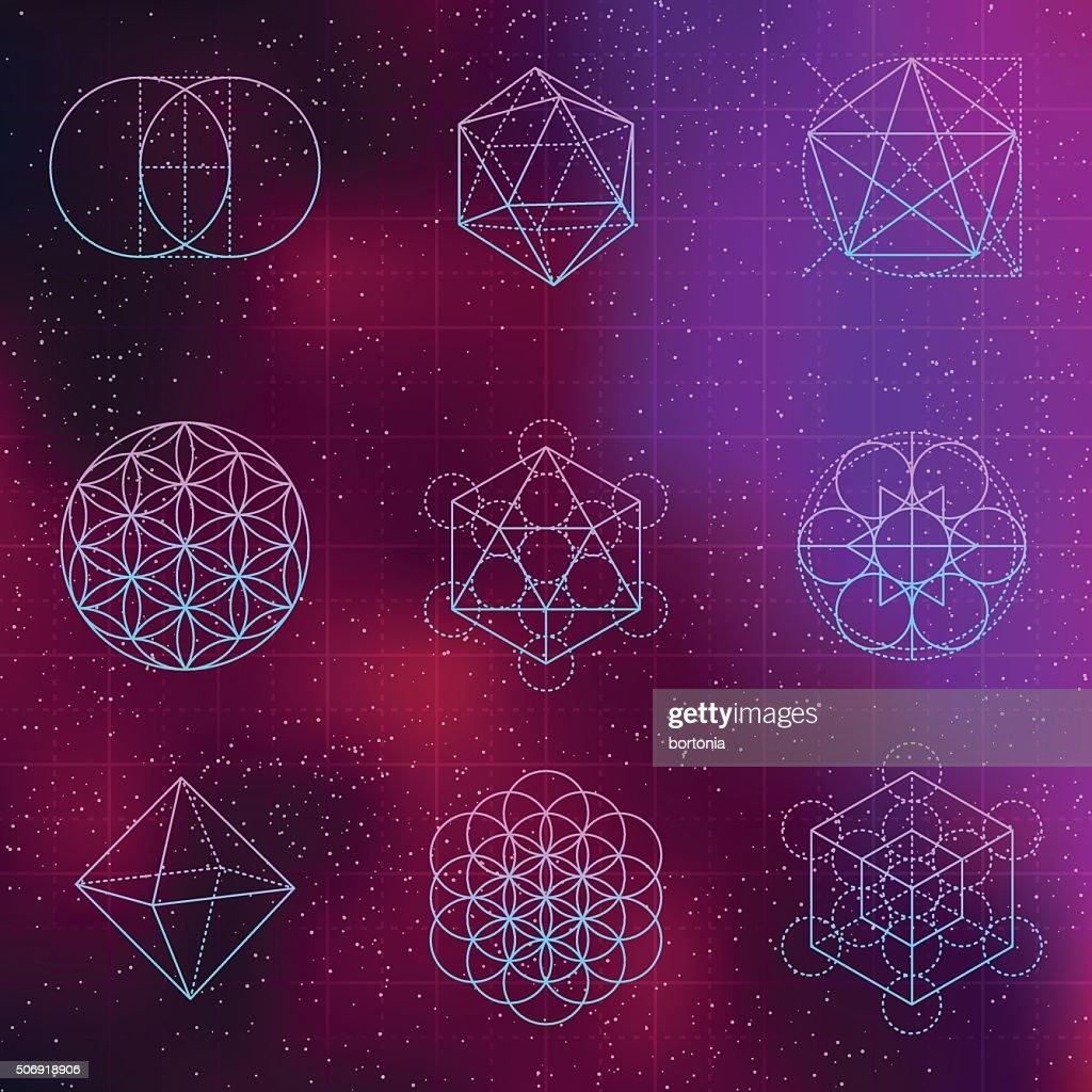 Set of Sacred Geometry Icons : stock illustration