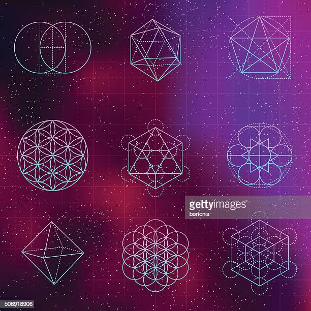 set of sacred geometry icons - fractal stock illustrations