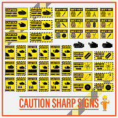Set of safety caution sharp signs, Safety caution sharp labels for determining any object which has sharp edge or corner.