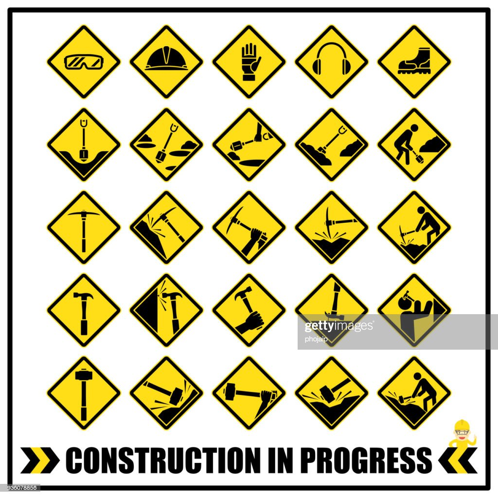 Set of safety caution signs and symbols for all construction site or general construction services, Basic safety personal protective equipment PPE signs.