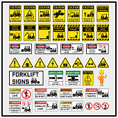 Set of safety caution signs and symbols of forklift operation, Forklift operation signs to use in supply industrial, Fork truck, Lift truck