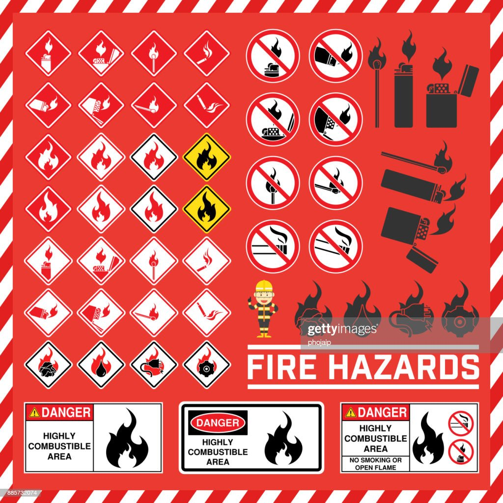 Set Of Safety Signs And Symbol Of Fire Hazard Fire Hazard Warning