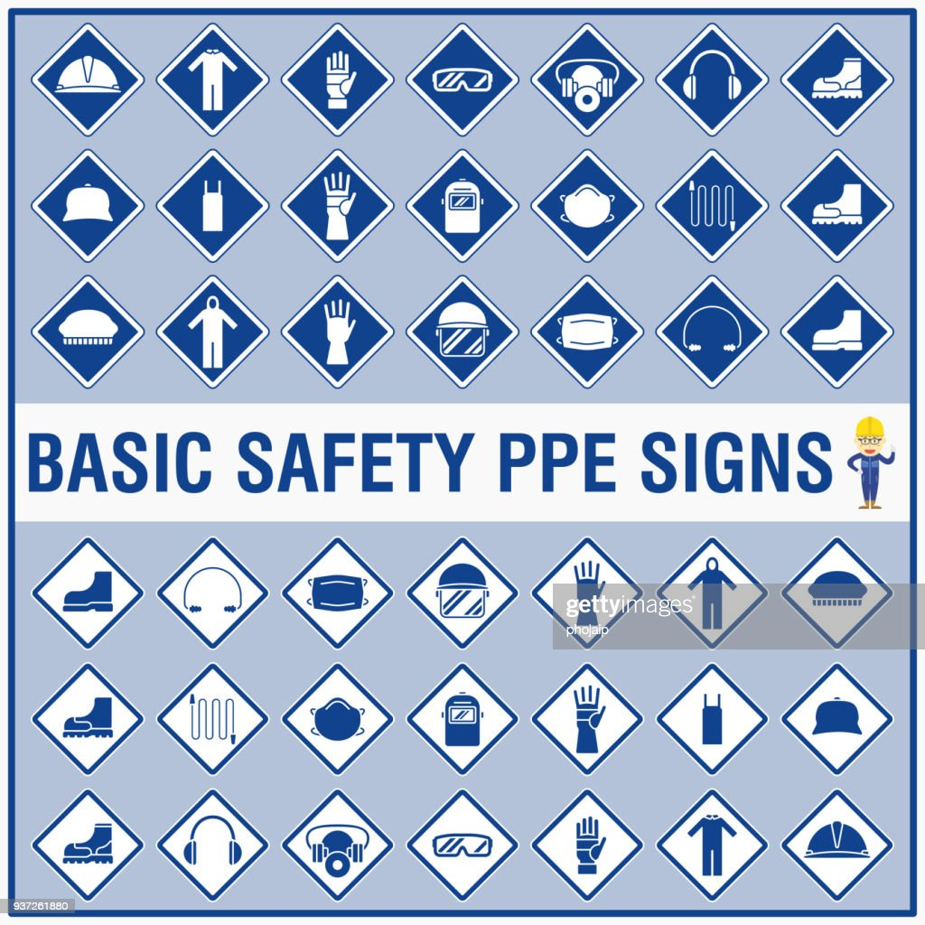 Set of safety signs and symbols for warning and remind all workers to wear their Personal Protective Equipment (PPE).