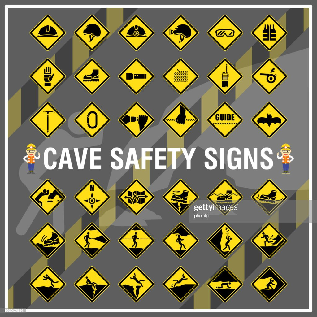 Set of safety signs and symbols of cave. Cave safety signs use to remind people to be aware of their safety during cave trekking.