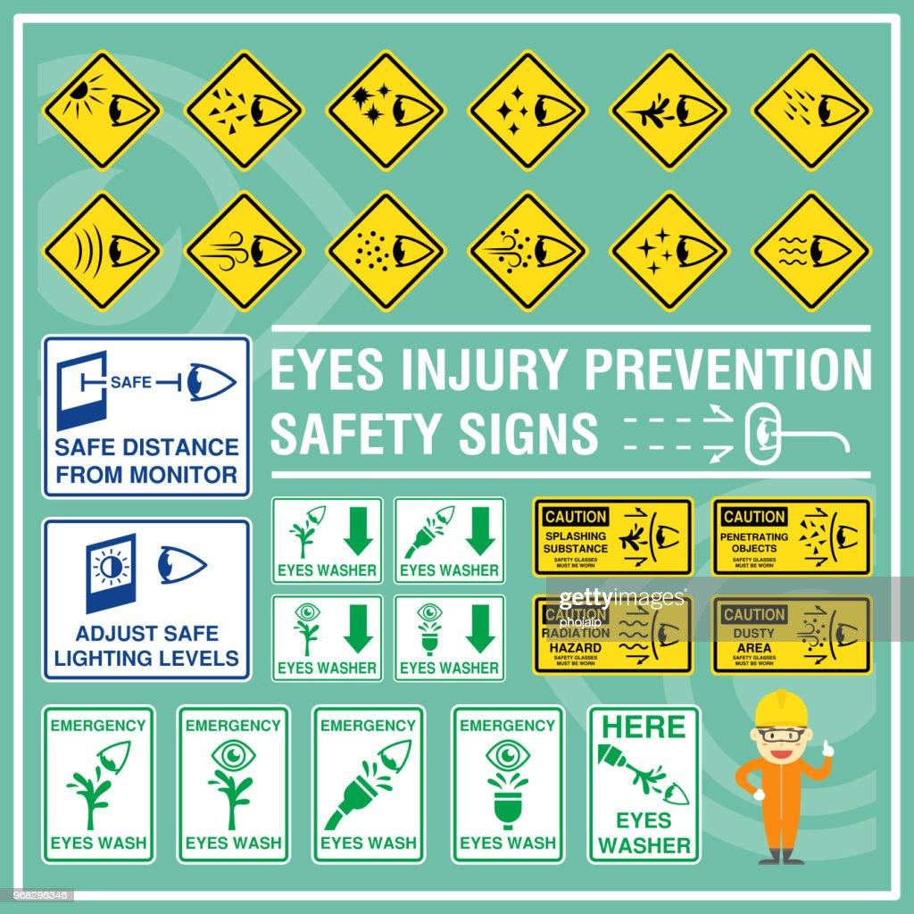 Set of safety signs and symbols of eyes injury prevention. Safety signs use to remind workers to be aware of their eyes safety and health. Signs of emergency eyes washer.