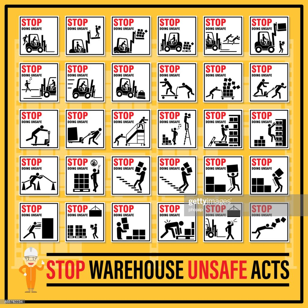 Set of safety signs and symbols of warehouse unsafe acts, Stop doing unsafe act, Fault of the persons engaged in warehouse work.