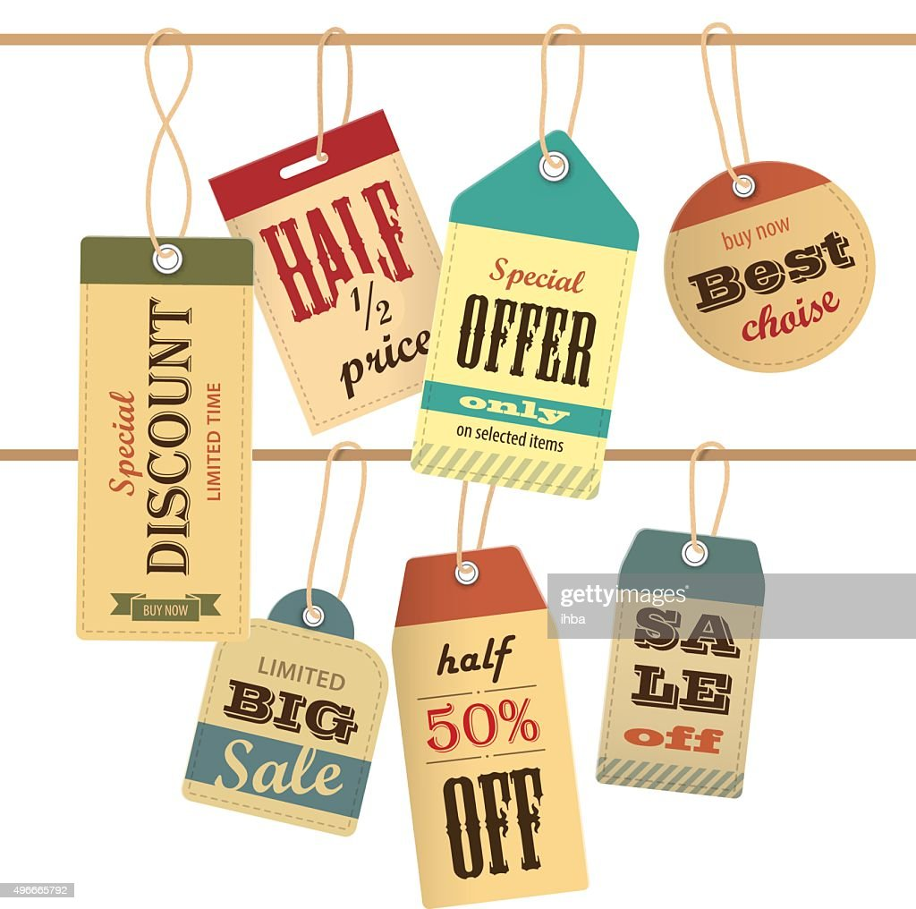 Set of sale tag on rope. Vector elements