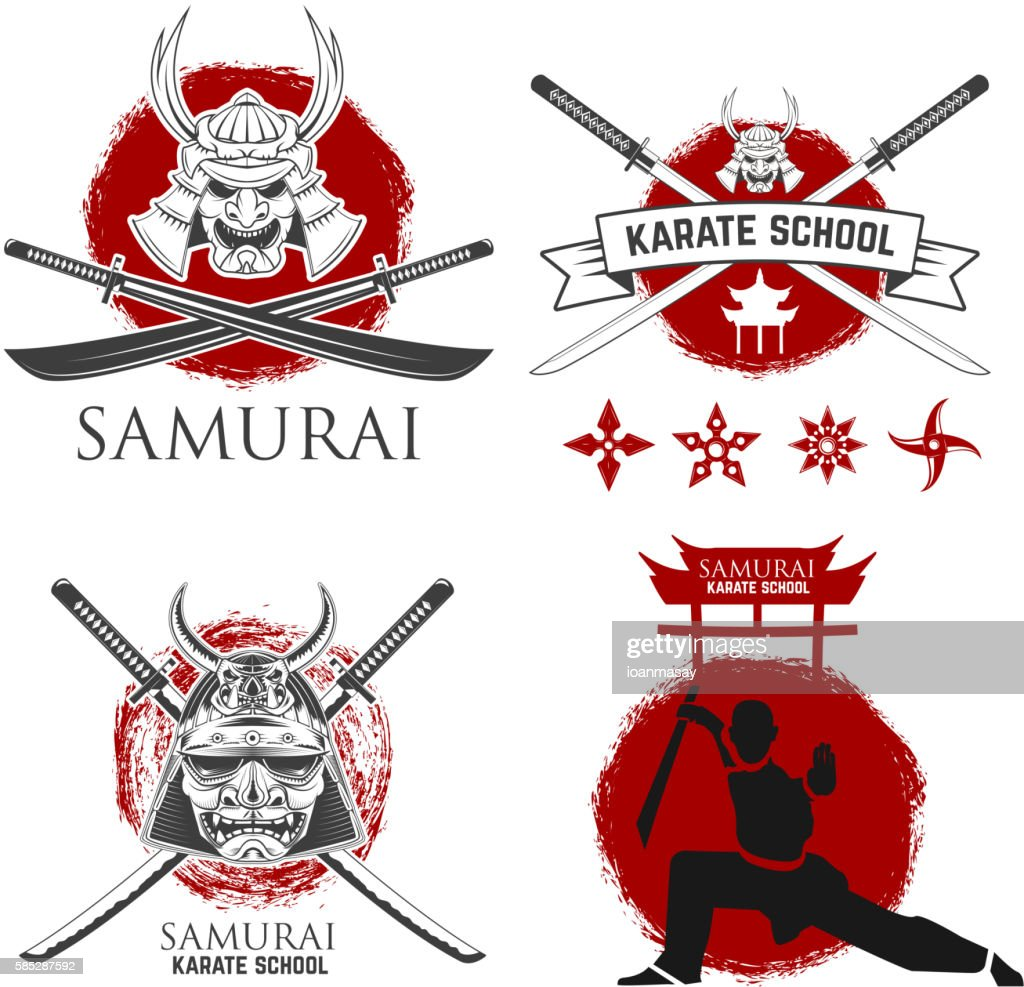 Set of samurai karate school labels. Ninja shurikens.