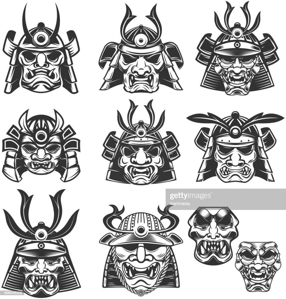 Set of samurai masks and helmets on white background. Design elements for label, emblem, sign. Vector illustration
