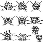Set of samurai masks and helmets with swords on white background. Design elements for label, emblem, sign. Vector illustration