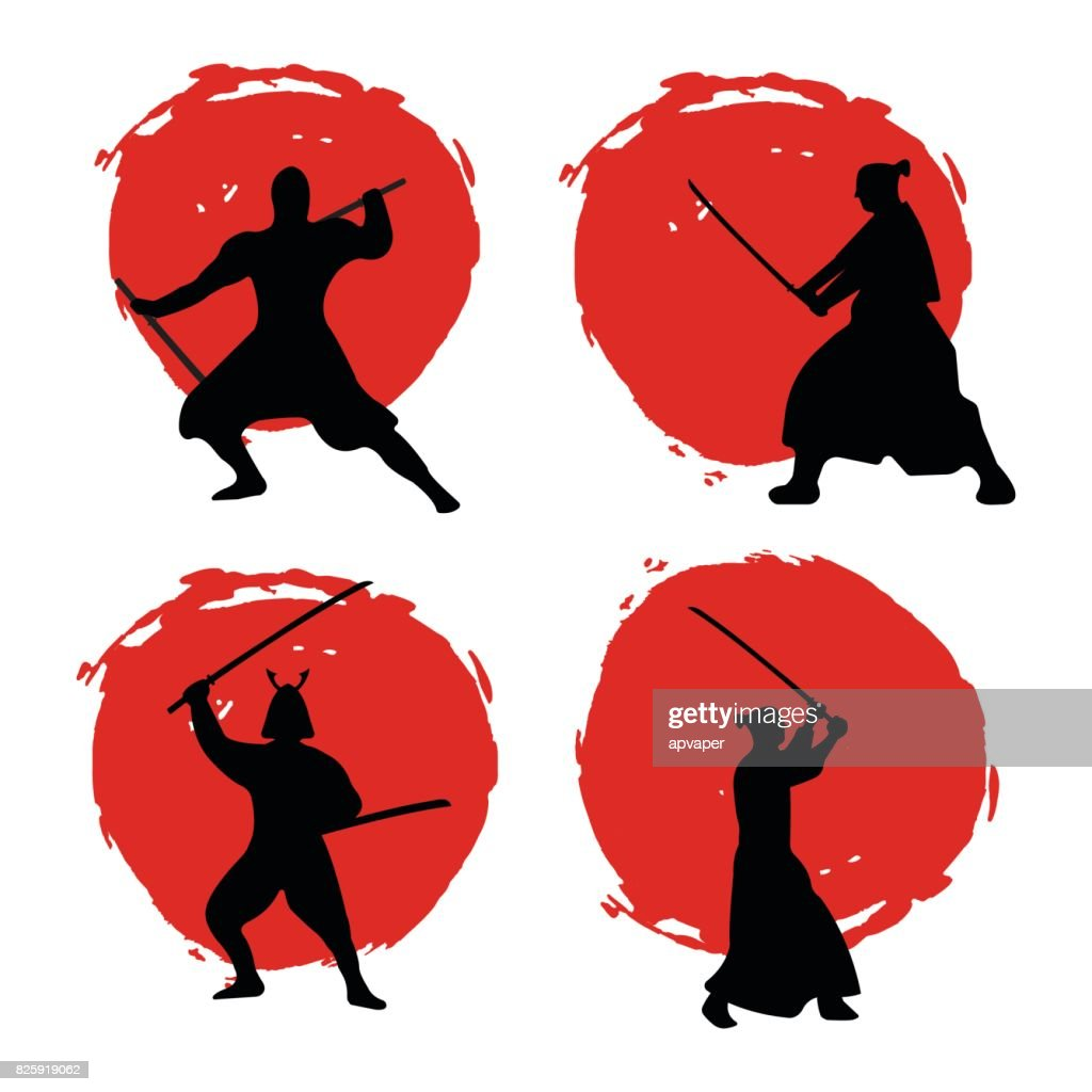 Set of Samurai Warriors Silhouette on red moon.