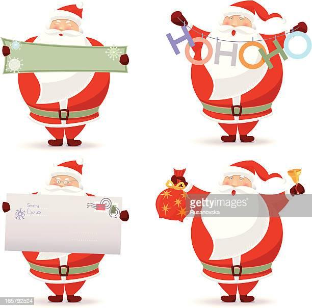 set of santa claus - sac stock illustrations, clip art, cartoons, & icons