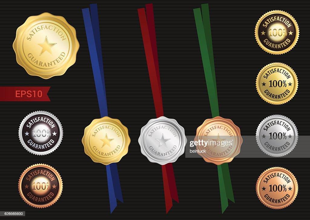 Set of satisfaction guaranteed and premium quality emblem or badge