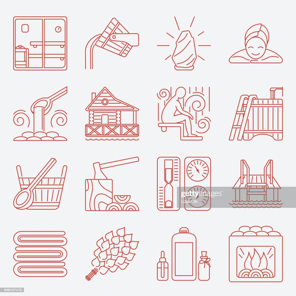 Set of Sauna Line Icon