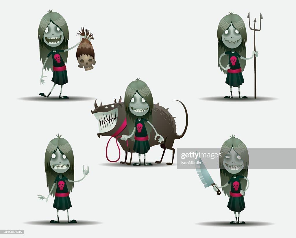 Set of scary girls