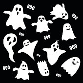 Set of scary white ghost characters on black background, Halloween holiday flat icon. Vector illustration