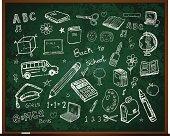 Set of school doodle illustrations