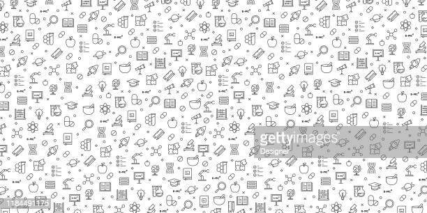ilustrações de stock, clip art, desenhos animados e ícones de set of science related icons vector pattern design - atomic imagery