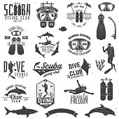 Set of Scuba diving club and diving school design