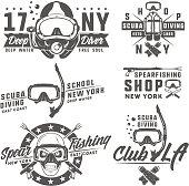 Set of scuba diving elements for emblems,prints,tattoo,label and design. Set of skull scuba diving mask.