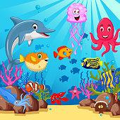 Set of sea animals cartoon