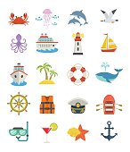 Set of sea vacation icons.