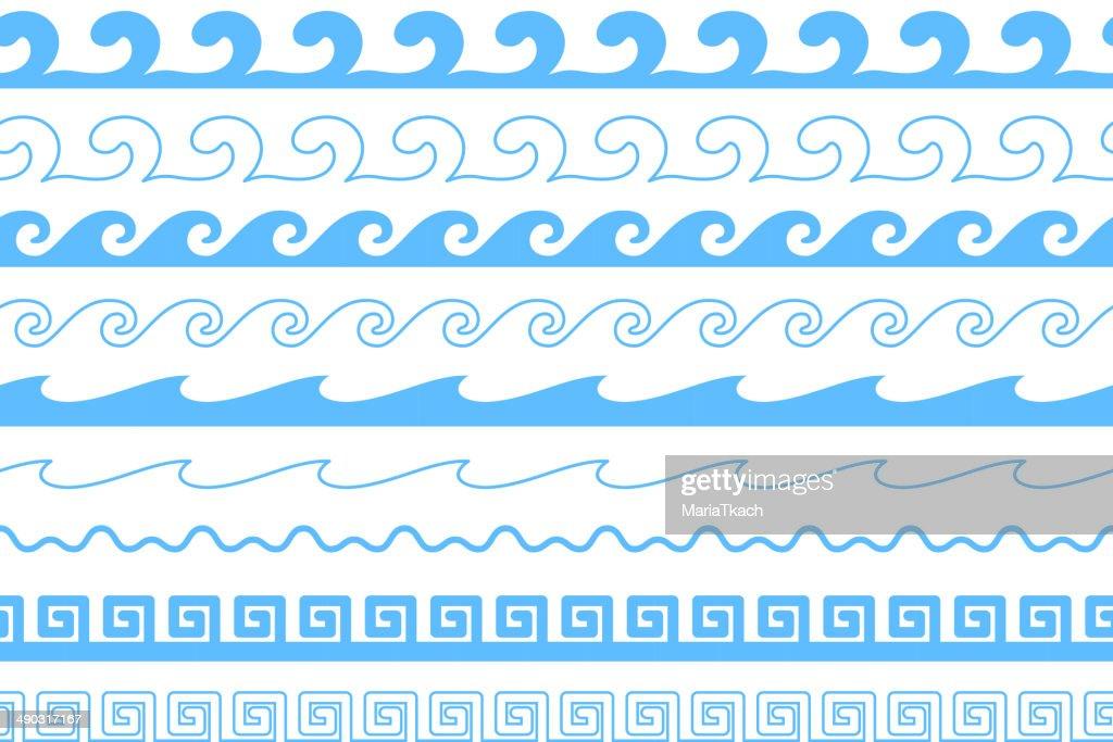 Set of sea waves brushes. Wavy borders.