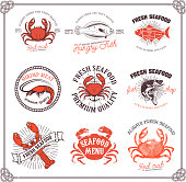 Set of seafood labels isolated on white background.