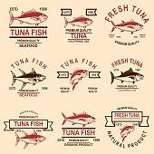 Set of seafood tuna labels. Design element for emblem, sign, poster.