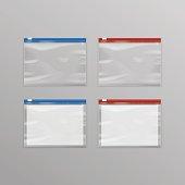 Set of Sealed Transparent Plastic Zipper Bags