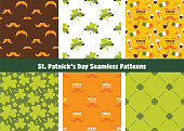 Set of seamless background patterns for St Patrick s Day. Perfect for wallpapers, pattern fills, web backgrounds, St. Patrick s Day greeting cards. vector illustration
