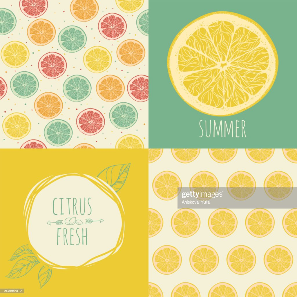 Set of seamless backgrounds. Slices of citrus fruit.