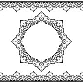Set of seamless borders and circular ornament for design, application of henna, Mehndi and tattoo. Decorative pattern in ethnic oriental style.