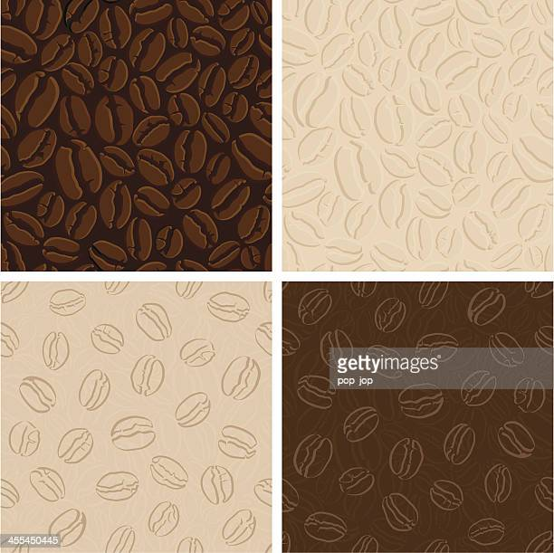 set of seamless coffee patterns - roasted coffee bean stock illustrations