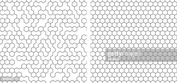 set of  seamless contour  hexagon background - pattern stock illustrations