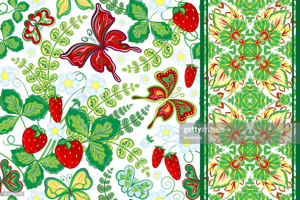 Set of seamless hand draw floral pattern with strawberry and