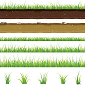 Set of seamless horizontal pattern with grass and soil