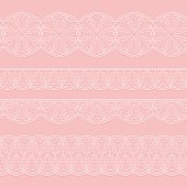 Set of seamless lace white ribbons on a pink background. Styling weave crochet.