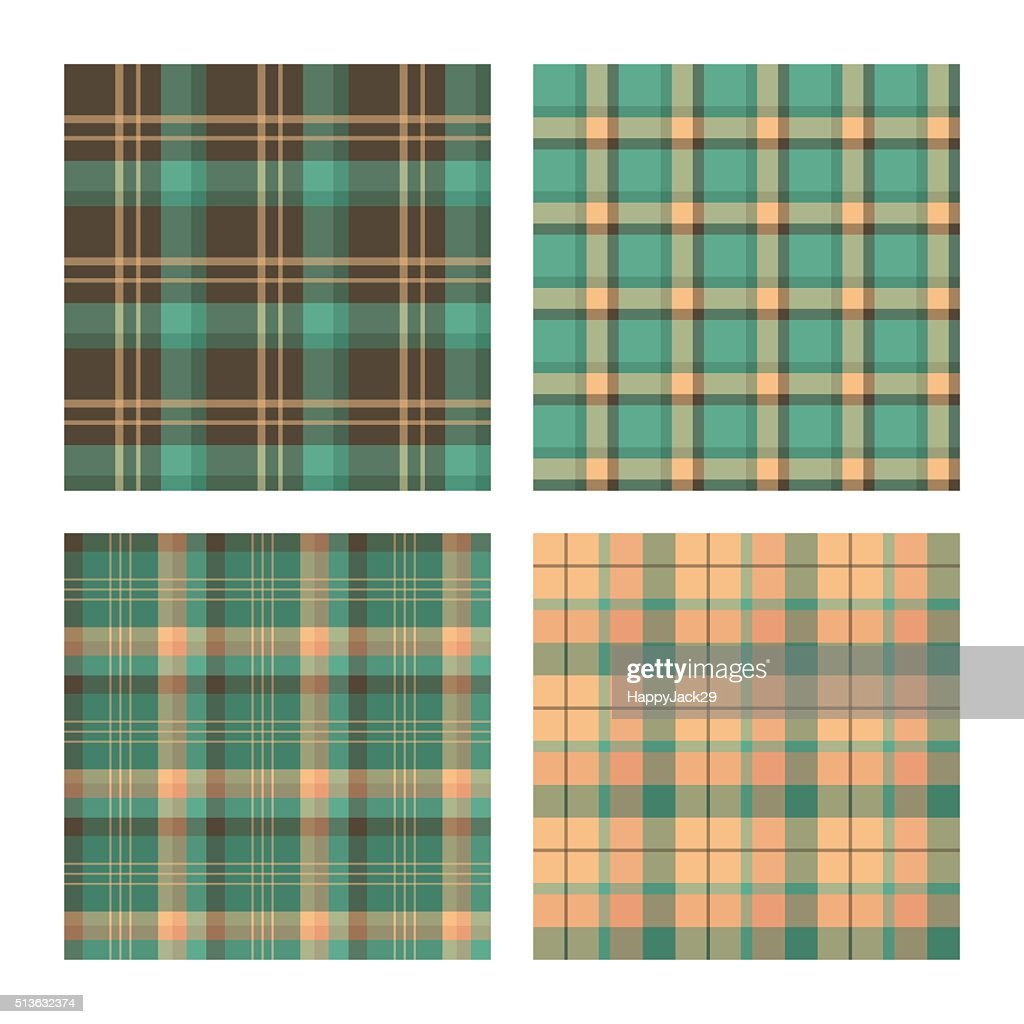 Set of seamless lumberjack plaid patterns