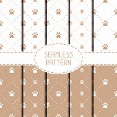 Set of seamless pattern. Animal footprints, cat, dog. Wrapping paper.