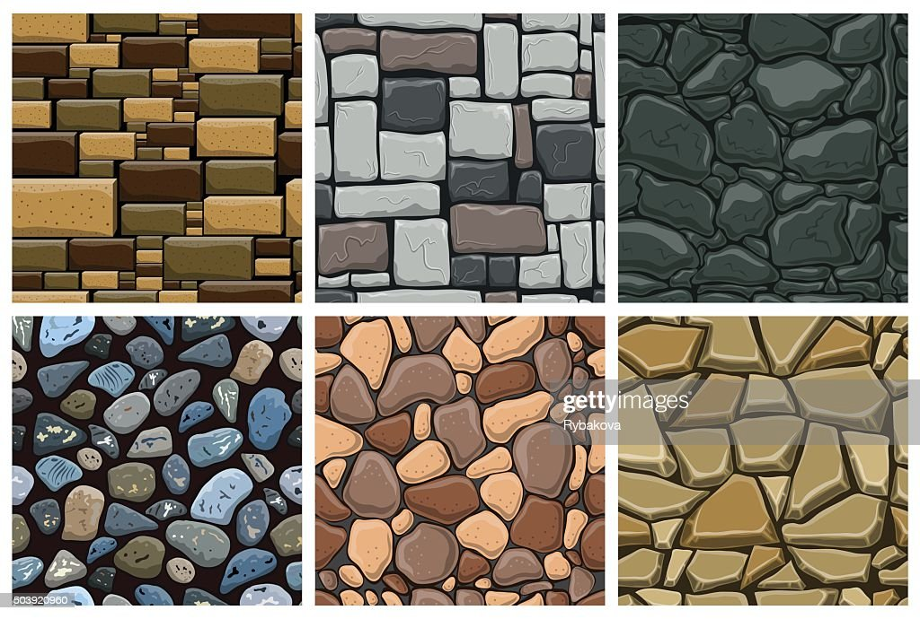 Set of seamless pattern with decorative stones