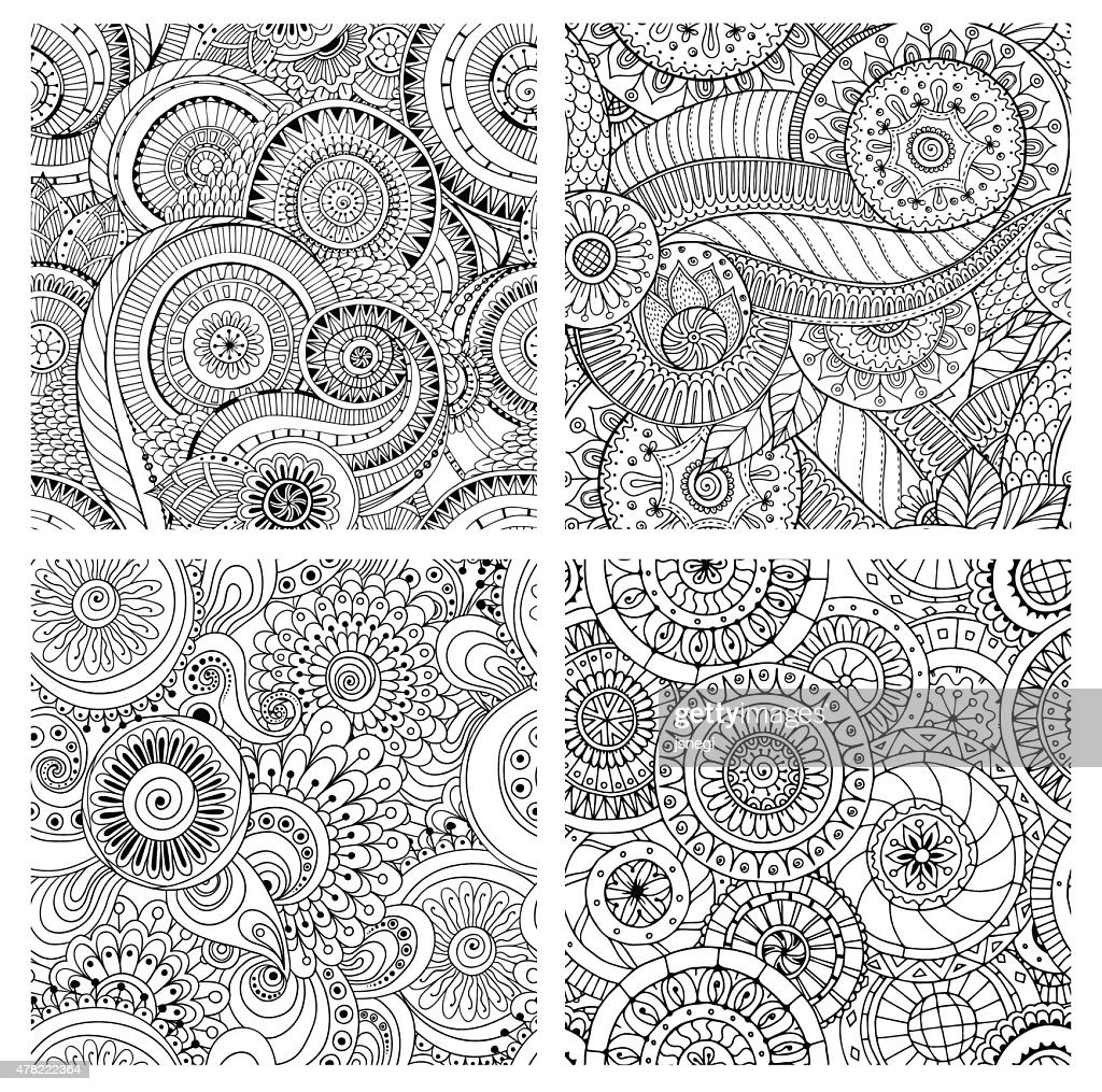 Set of seamless pattern with flowers. Ornate textures.