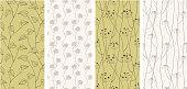 Set of seamless patterns backgrounds. Vector illustration