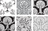 Set of seamless patterns, vector hand drawn repeating illustration, decorative ornamental stylized endless trees. Black and white abstract seamles graphic illustration Artistic line drawing silhouette