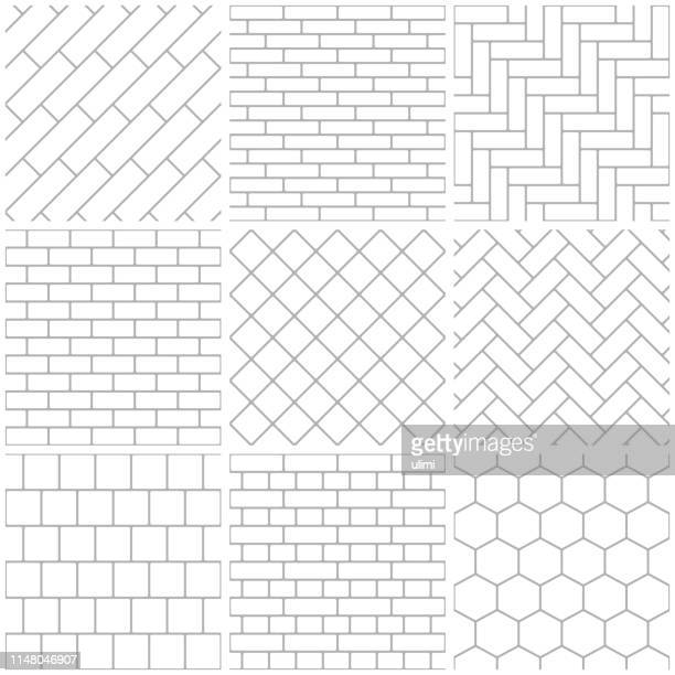 set of seamless patterns - brick stock illustrations